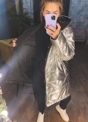 Зимняя двухсторонняя куртка пуховик с капюшоном и карманами аля