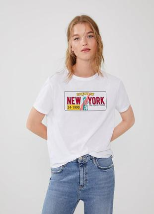 Белая футболка с принтом zara