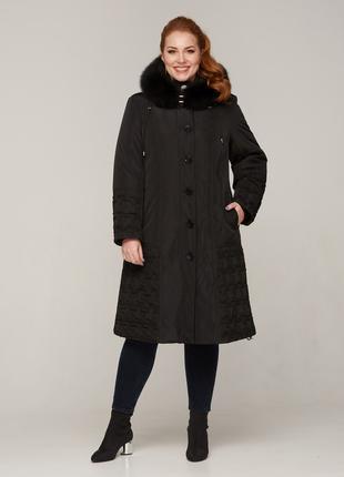 Зимняя женская длинная черная куртка с натуральным мехом