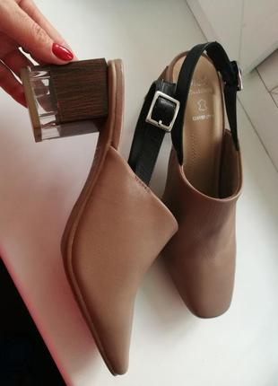 Кожаные туфли босоножки сабо цвет молочный шоколад