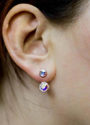 Серьги стразы джекеты сережки кристаллы камни украшение бижуте...