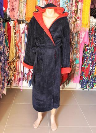 Длинный махровый мужской халат (красный с синим)