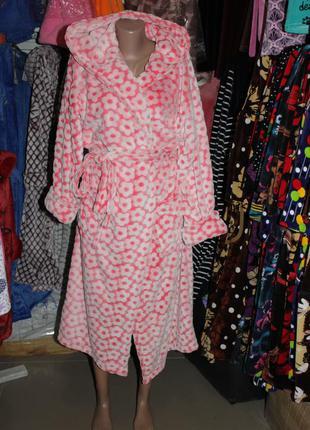 Женский махровый халат на запах с капюшоном
