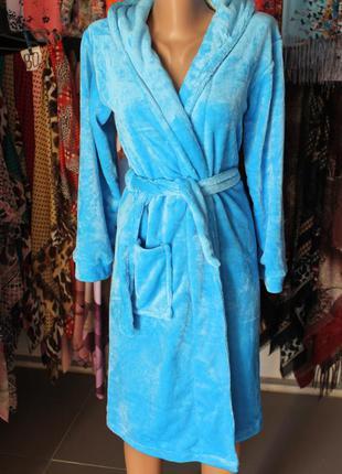 Подростковый халат на запах с капюшоном голубой