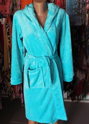 Подростковый халат на запах с капюшоном бирюзовый