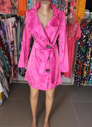 Плащ тренч  легкое пальто женское цвет фуксия ярко-розовый