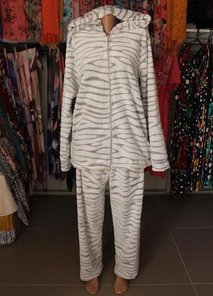 Женский махровый домашний костюм пижама с капюшоном на молнии