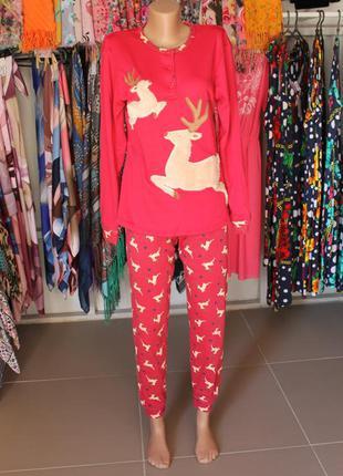 Женский домашний костюм пижама с оленями