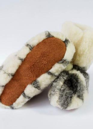 Домашние тапочки валенки натуральная овчина подошва замша (уни...