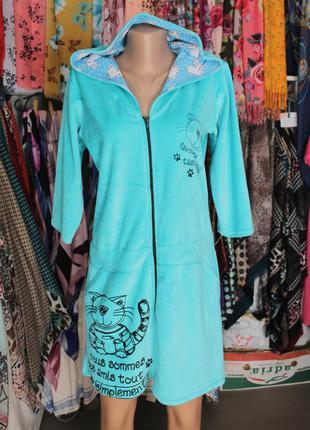 Женский халат на молнии с капюшоном велюр коты