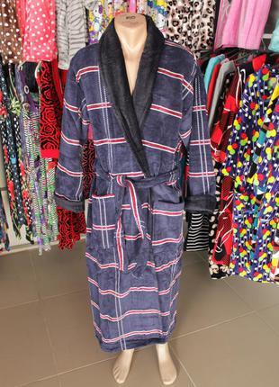 Длинный махровый мужской халат на запах без капюшона (шаль)