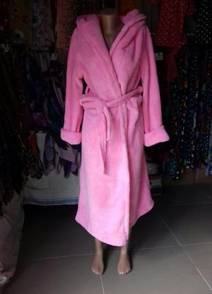 Женский длинный махровый халат с капюшоном на запах однотонный...