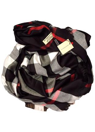 Большой платок палантин burberry черный в клетку люкс