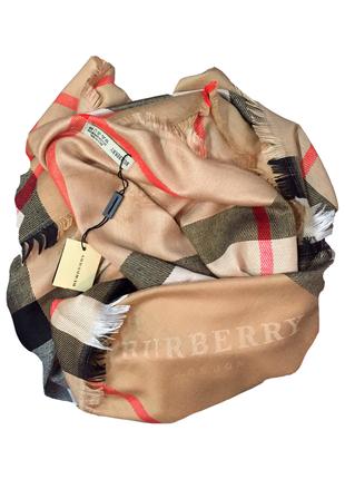 Большой платок палантин burberry темно-бежевый в клетку люкс