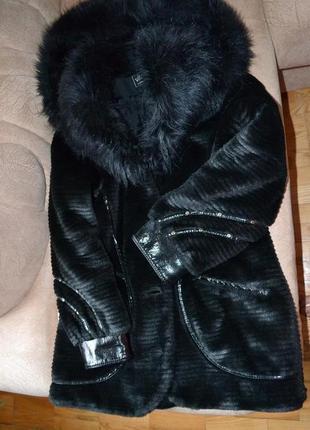 Шуба полушубок зимнее меховое пальто искусственный эко-мех