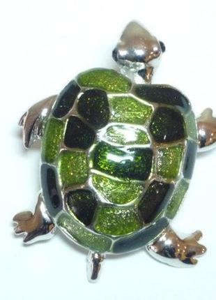 Брошь брошка черепаха черепашка белый металл зеленая эмаль