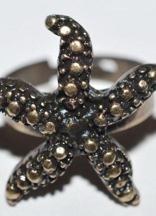 Винтажное кольцо ретро стиль медный сплав морская звезда