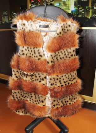Меховой жилет жилетка искусственный мех рыжий леопард похож на...