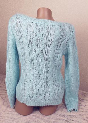 Мягкий красивый свитер мятного цвета тёплый в косы бренда h&m