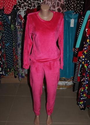 Женский костюм велюр розовый (велюровый костюм)
