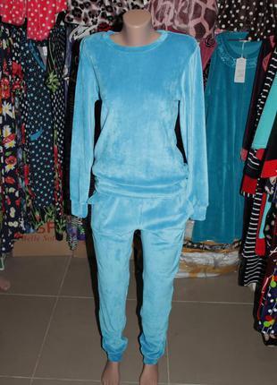 Женский костюм велюр голубой бирюза (велюровый костюм)