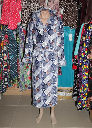 Длинный махровый мужской халат на запах с капюшоном
