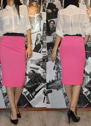 Шикарная розовая с черным юбка миди карандаш плотная ткань new...