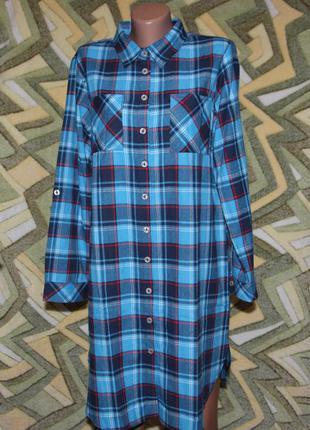 Платье рубашка в клетку (ублиненная рубашка)