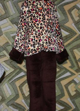 Детский домашний махровый костюм унисекс на молнии леопард