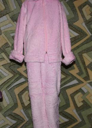 Детский домашний махровый костюм розовый на молнии
