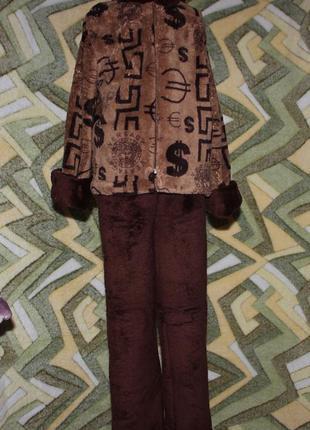 Детский домашний махровый костюм унисекс на молнии
