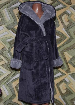Деский махровый халат на запах с капюшоном