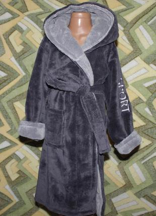 Детский махровый халат на запах с капюшоном