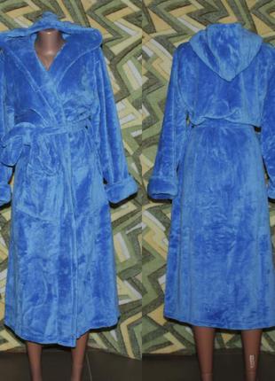 Женский махровый длинный халат на запах с капюшоном светло-синий