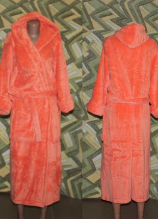 Женский махровый длинный халат на запах с капюшоном оранжевый