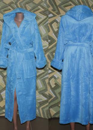 Женский махровый длинный халат на запах с капюшоном голубой