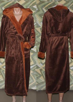 Длинный махровый мужской халат (коричневый) вышивка sport
