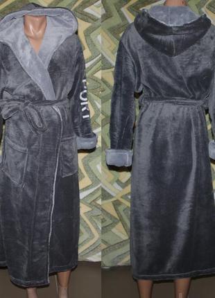 Длинный махровый мужской халат (серый) вышивка sport