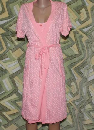 Набор комплект ночная сорочка (ночнушка, рубашка, платье) и халат
