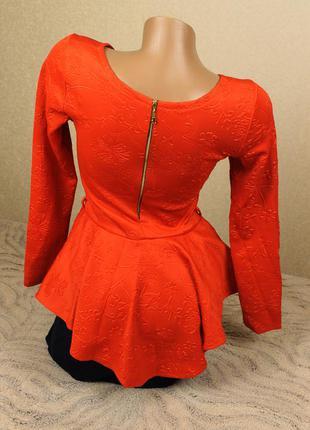 Красивое платье миди с баской низ как юбка-карандаш красное с ...