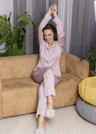 Пижама шелковая с кантом в горошек рубашка и брюки рубашка