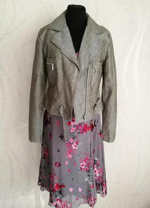 Классная стильная льняная куртка косуха жакет