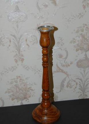 Подсвечник деревянный классической формы ручной работы на 1 св...
