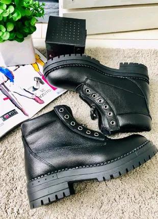 Женские демисезонные ботинки 36-40р черные натуральная кожа