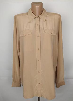 Блуза шелковая бежевая шикарная с карманами 100% шелк!!! uk 14...