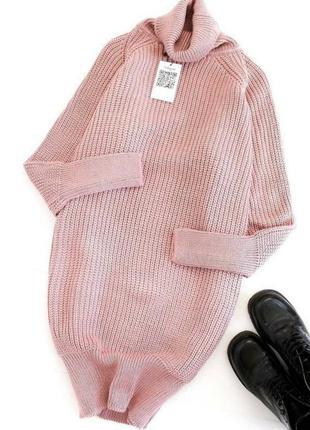 Тёплое вязаное платье-свитер