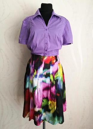 Яркая красочная юбка миди коттон+шелк,рубашка в подарок