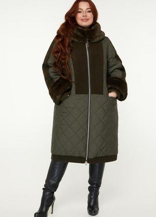 Бестселлер! зимнее комбинированное пальто больших размеров