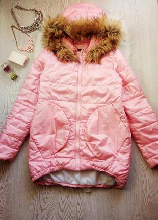Розовая куртка пуховик оверсайз одеяло с мехом карманами деми ...