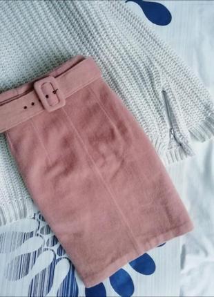 Розовая бежевая юбка шерстяная карандаш рожева бежева спідниця...